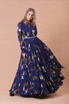 Blue Embroidered Anarkali