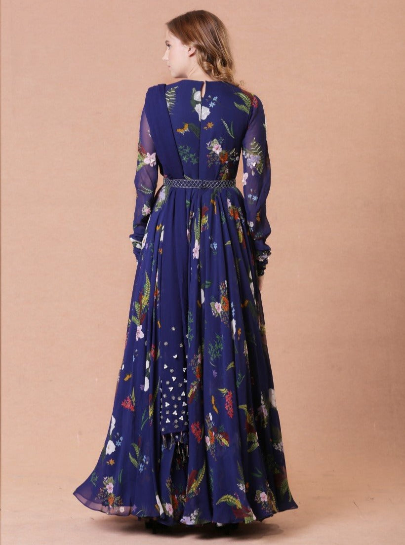Mahima Mahajan - Blue Embroidered Anarkali - INDIASPOPUP.COM