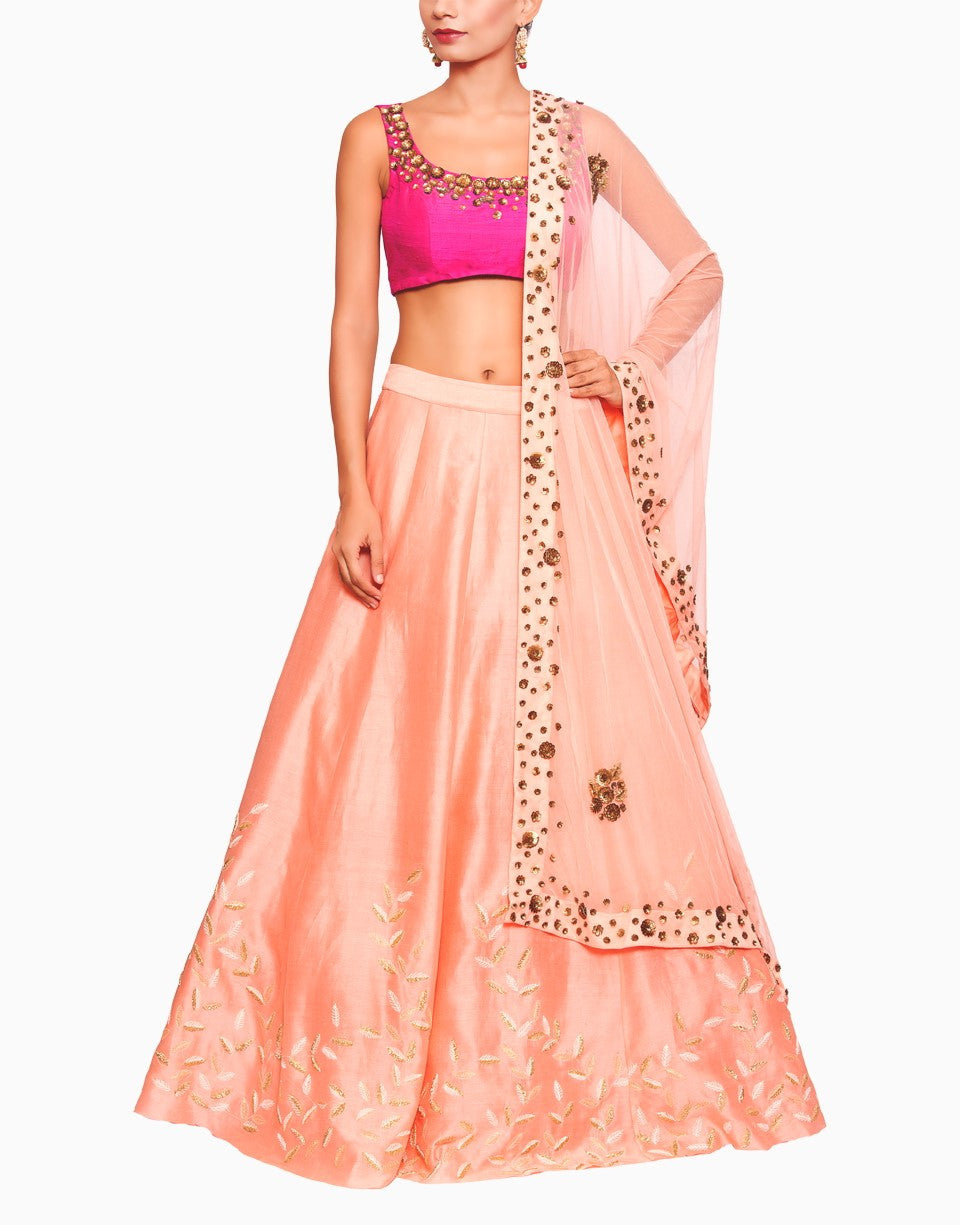 SALT AND SPRING PEACH PINK EMBROIDERED LEHENGA