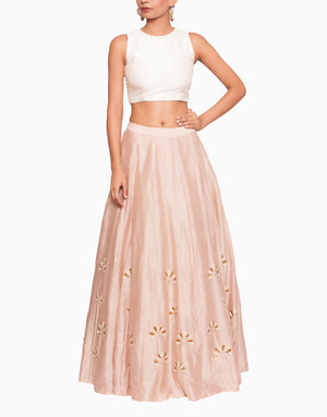 SALT AND SPRING PEACH PINK CUTDANA LEHENGA