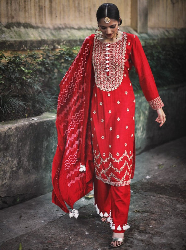Pink City-Red Embroidered Kurta Set With Dupatta-INDIASPOPUP.COM