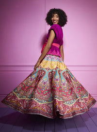 Siddhartha Bansal-Red Embroidered Paisley Skirt-INDIASPOPUP.COM