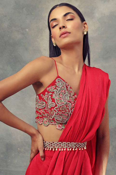 Bhumika Sharma-Ruby Red Saree With Bralette & Belt-INDIASPOPUP.COM