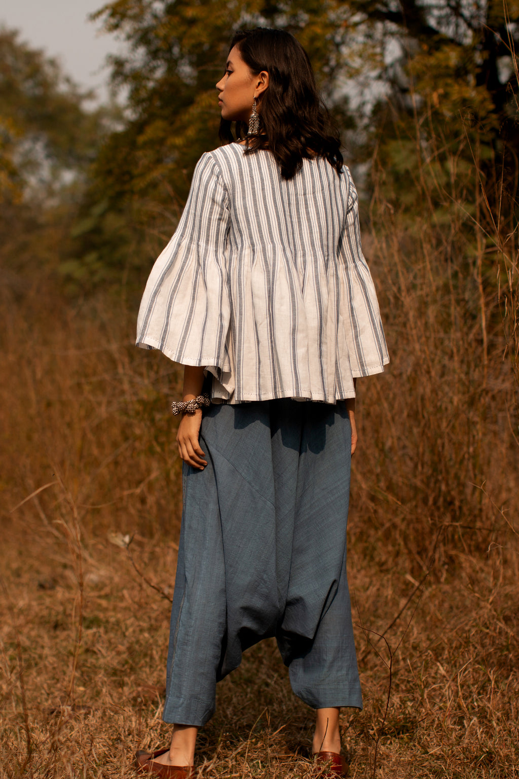 Payal Pratap-Ecru Chris Pleated Top-INDIASPOPUP.COM