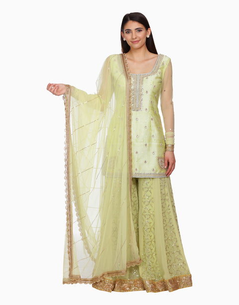 Bhumika Grover - Mint Green Sharara Set - INDIASPOPUP.COM