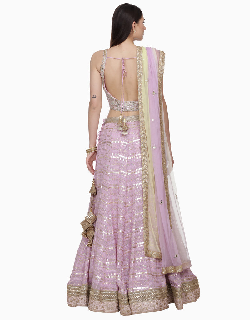BHUMIKA GROVER MAUVE MIRROR WORK LEHENGA SET