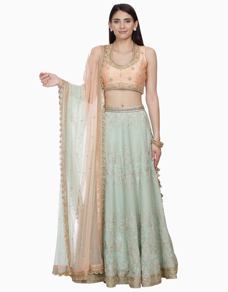 BHUMIKA GROVER PEACH & MINT LEHENGA SET