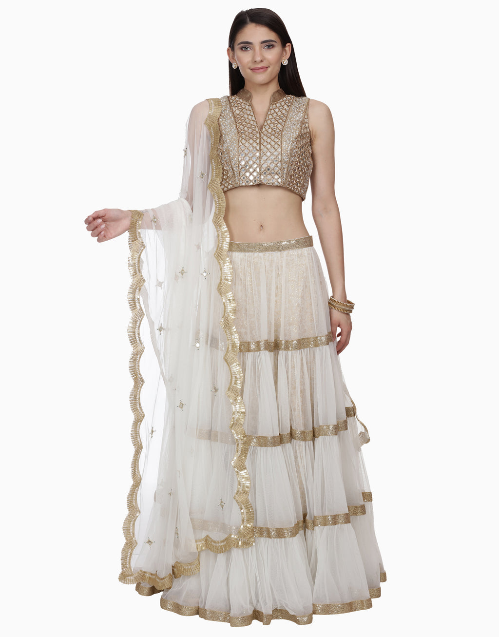 BHUMIKA GROVER IVORY LAYERED LEHENGA SET