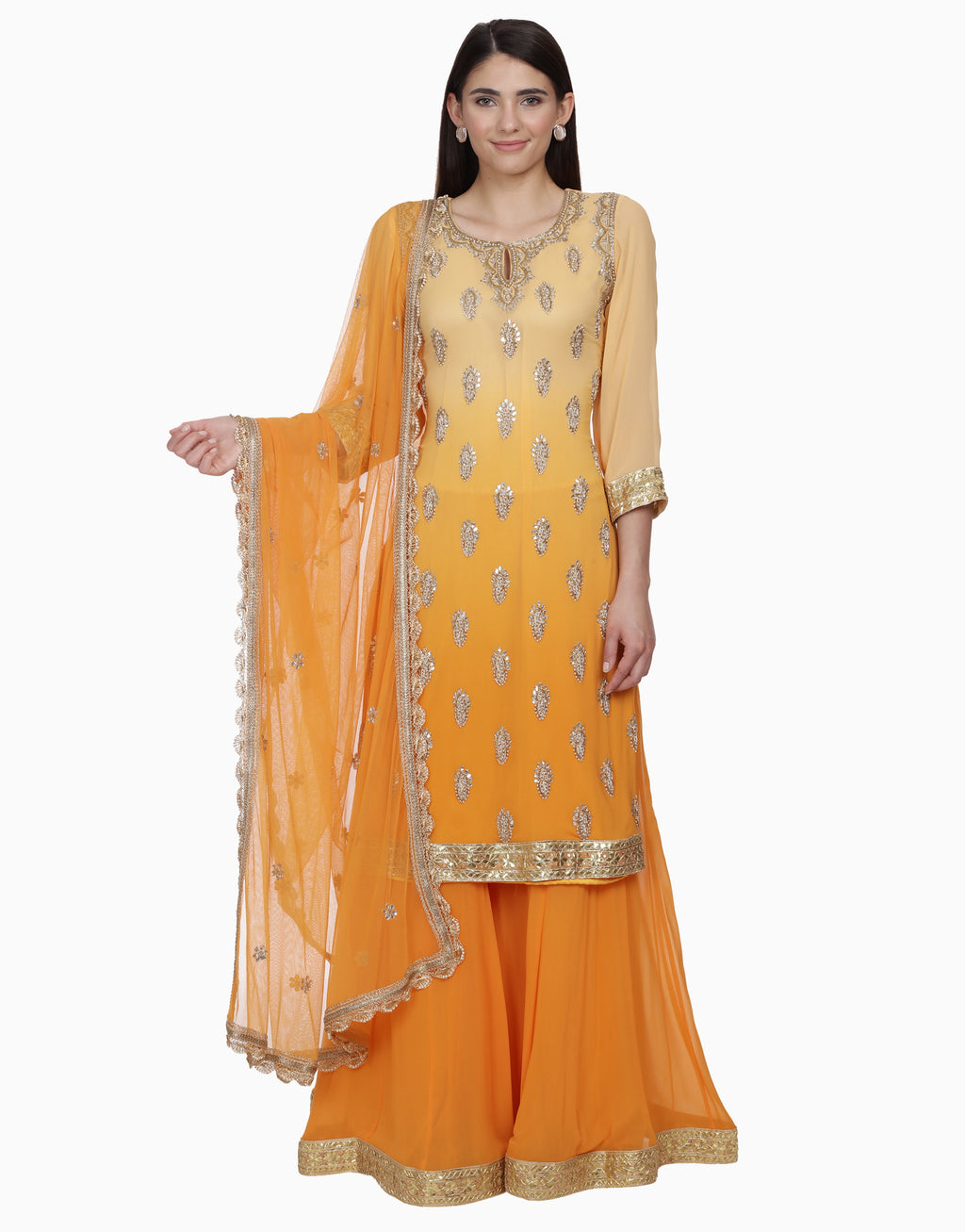 BHUMIKA GROVER ORANGE OMBRE SHARARA SET