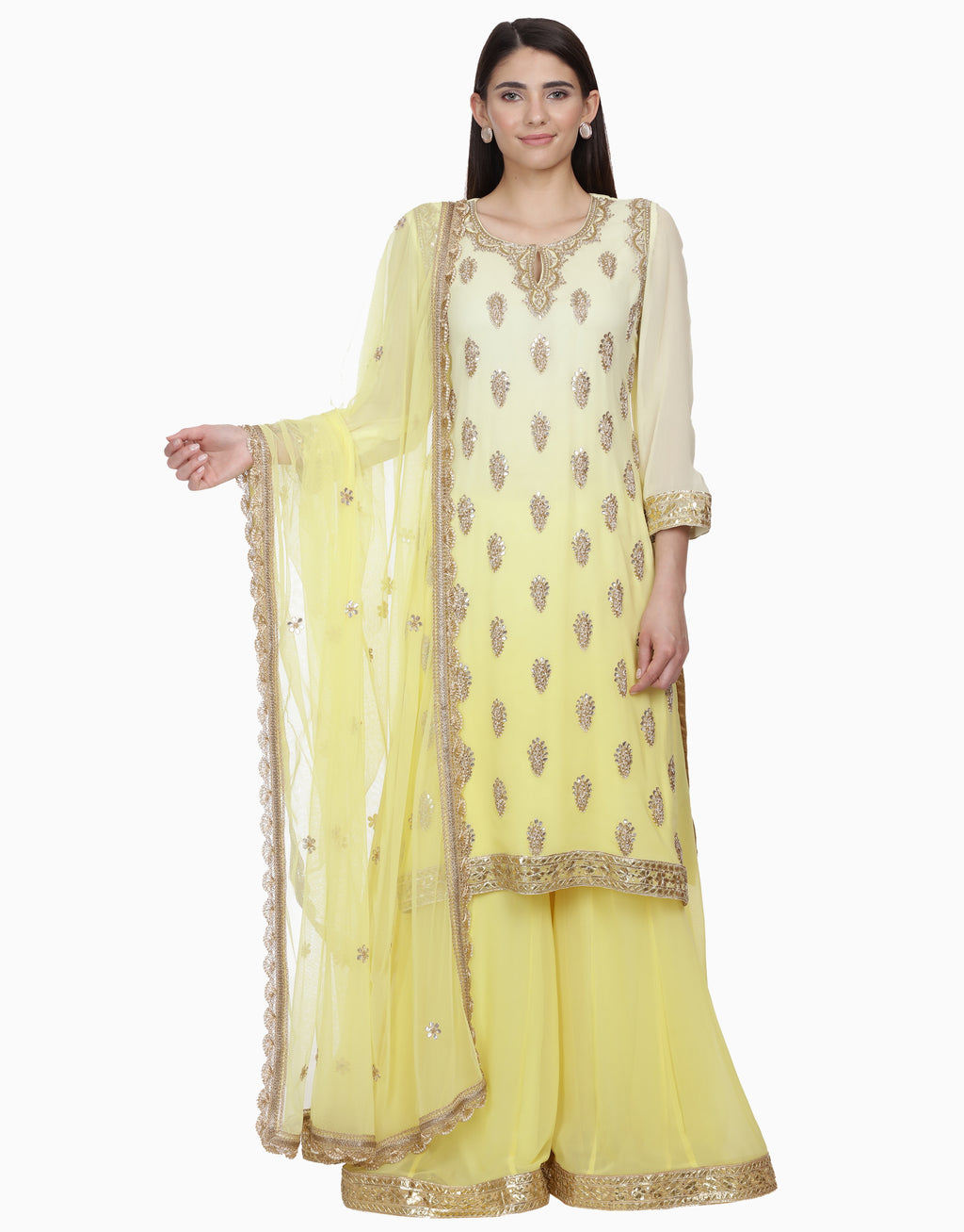 BHUMIKA GROVER LEMON OMBRE SHARARA SET
