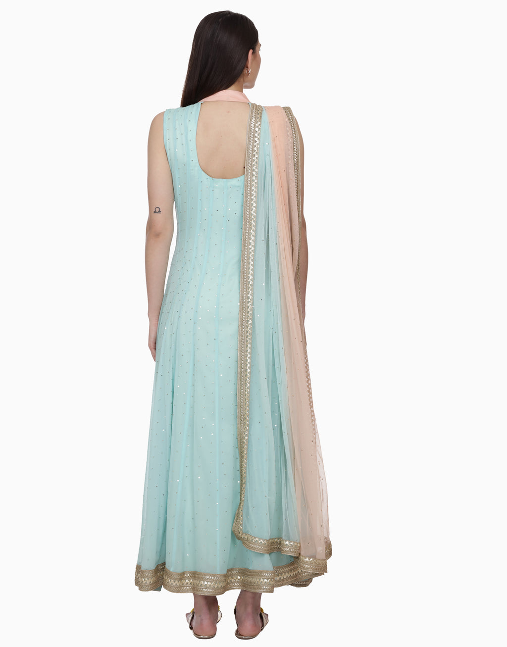 BHUMIKA GROVER PEACH & MINT LAYERED ANARKALI SET