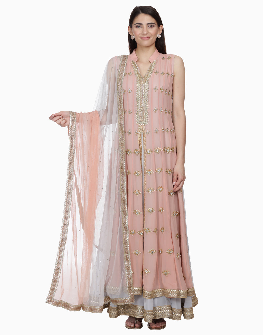 BHUMIKA GROVER GREY & BLUSH PINK LAYERED ANARKALI SET