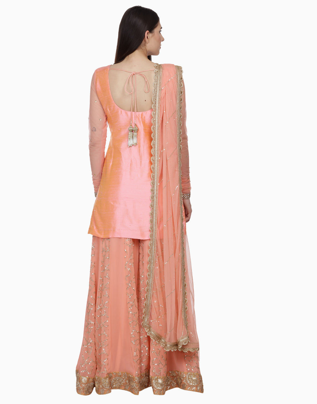 BHUMIKA GROVER PEACH SHARARA SET