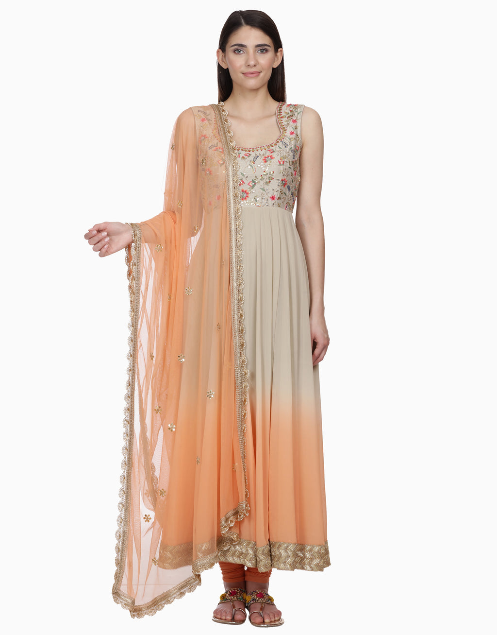 BHUMIKA GROVER GREY & PEACH OMBRE ANARKALI