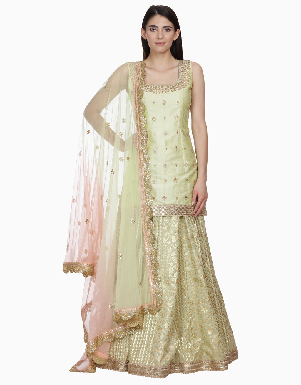 BHUMIKA GROVER LIME GREEN LEHENGA SET