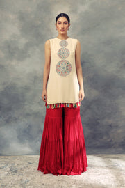 Bhumika Sharma-Ivory Top With Thread Work & Sharara-INDIASPOPUP.COM