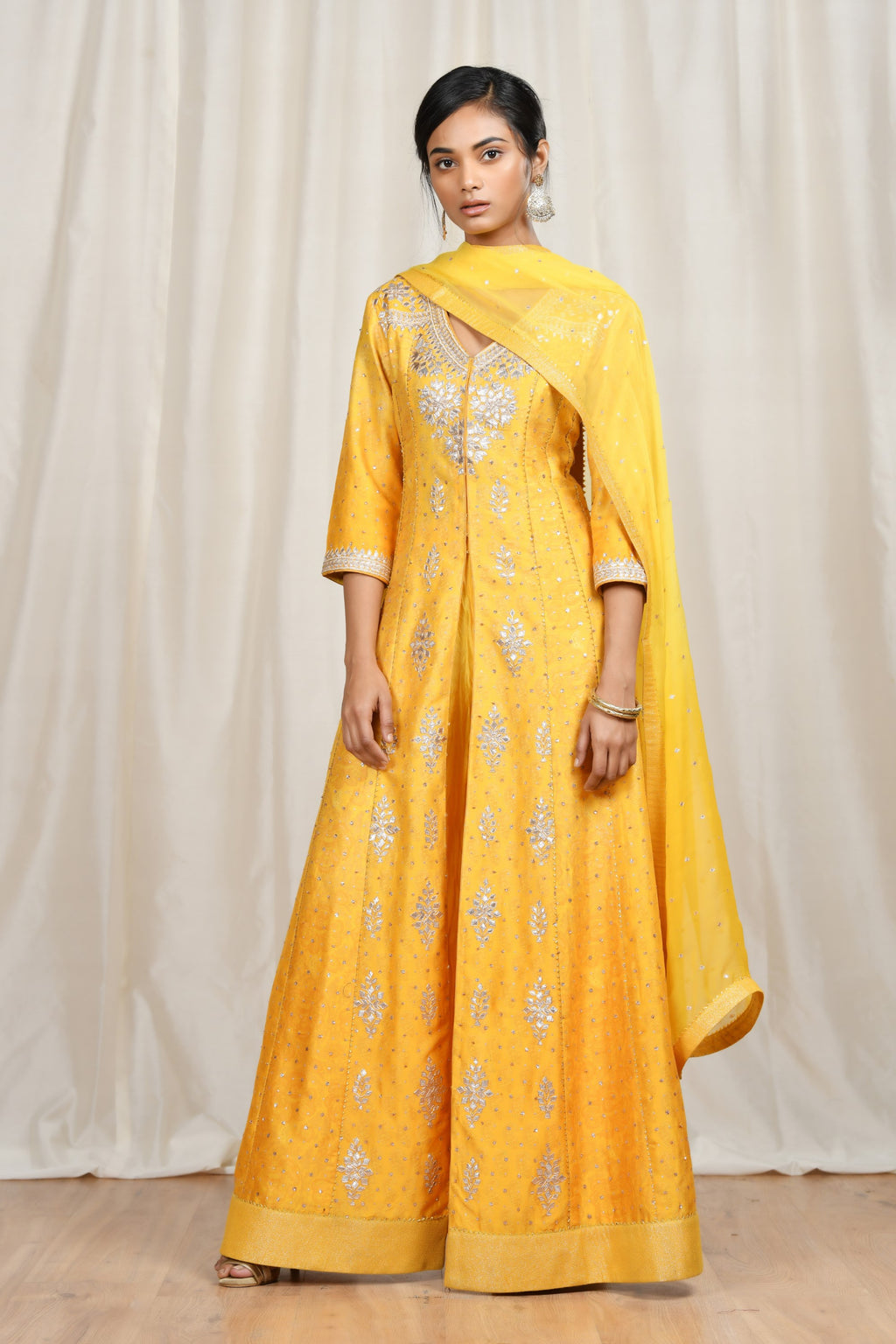 Yellow Floral Printed Gown