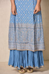 Ri.Ritu Kumar-Blue Embroidered Kurta With Skirt & Dupatta-INDIASPOPUP.COM
