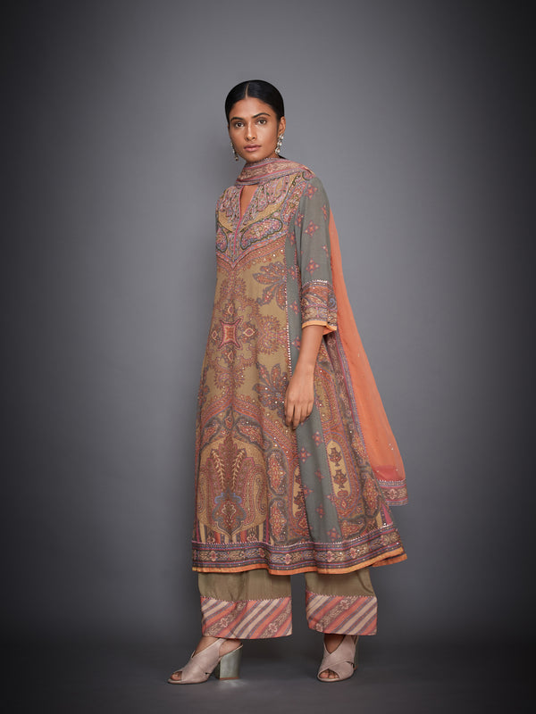 Peach Abstract Kurta With Pants