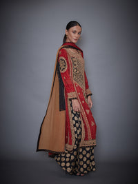 Burgundy & Black Kurta With Palazzo