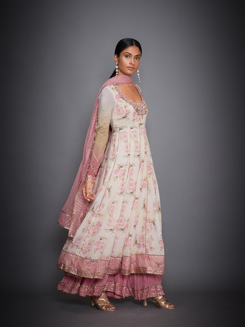 Ivory & Pink Tropical Kurta With Palazzo