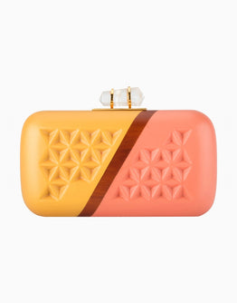 Gold Pink Handcarved Clutch