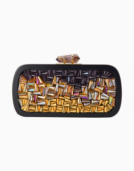 Curved Jewel Tones Design Clutch