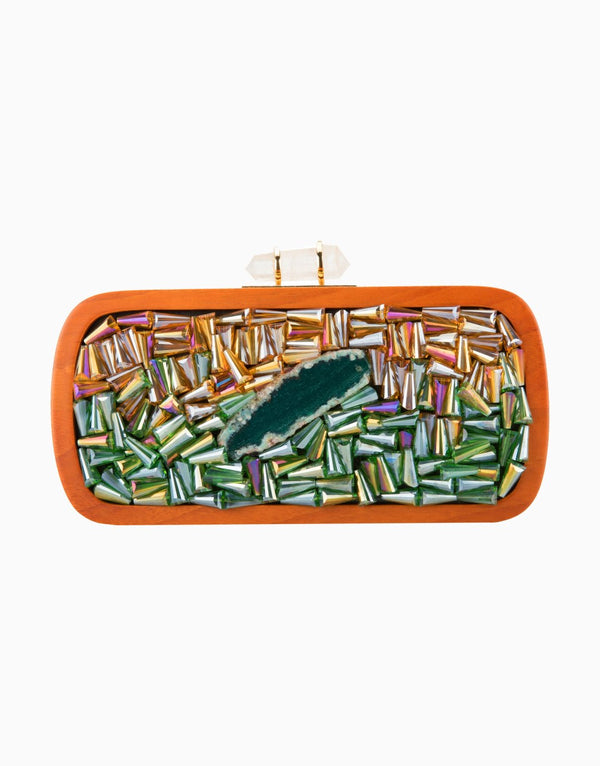 Duet Luxury - Curved Jewel Tones Design Clutch - INDIASPOPUP.COM
