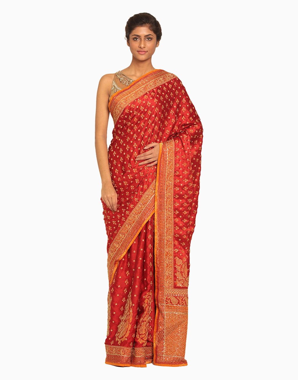 Red & Saffron Saree With Unstitched Blouse