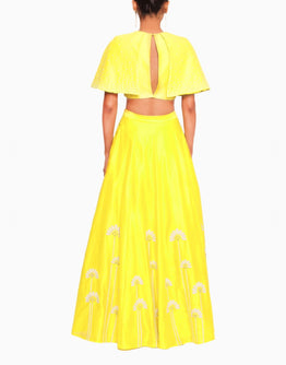 Yellow Cape Blouse and Embroidered Yellow Lehenga