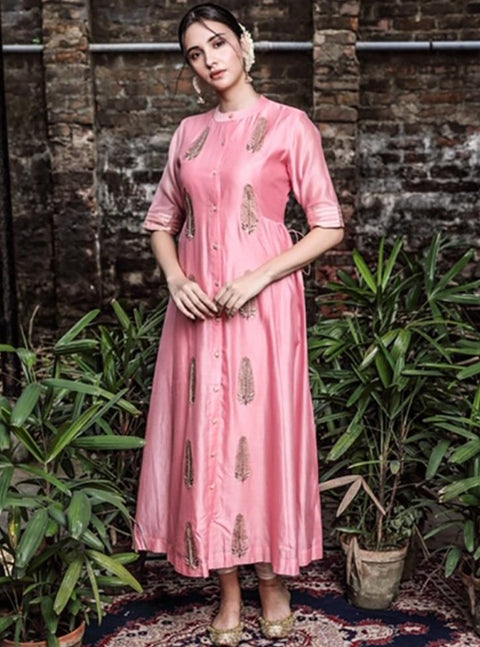 Pink City-Pink Dress With Gathers And Strings-INDIASPOPUP.COM