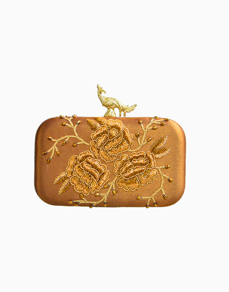 RUSARU DENEB COPPER EMBROIDERED CLUTCH