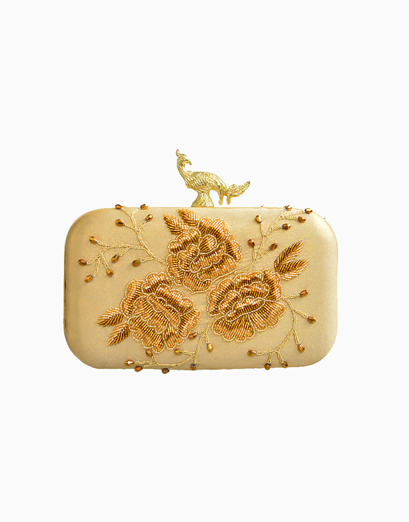 Rusaru - Deneb Gold Embroidered Clutch - INDIASPOPUP.COM