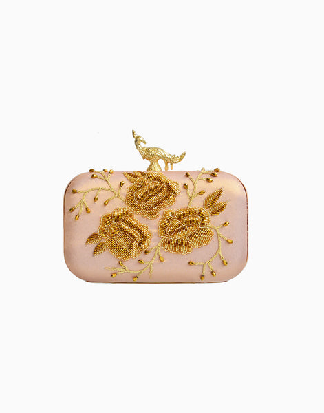 RUSARU DENEB PINK EMBROIDERED CLUTCH