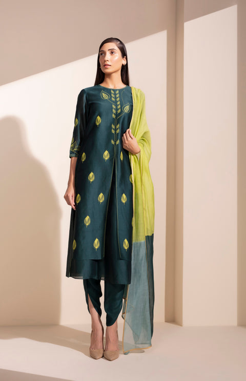 Forest Green Screen Printed Kurta Set