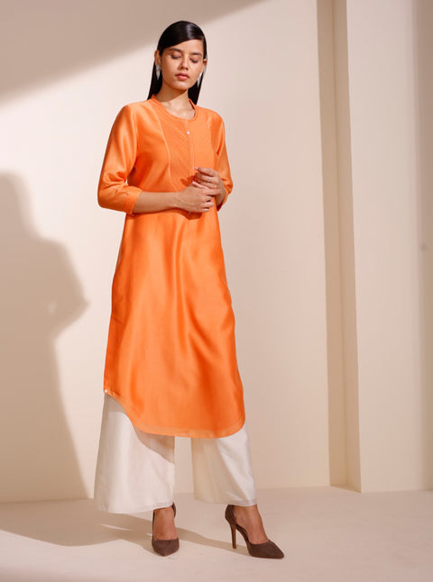 Orange Chanderi Corder Tunic
