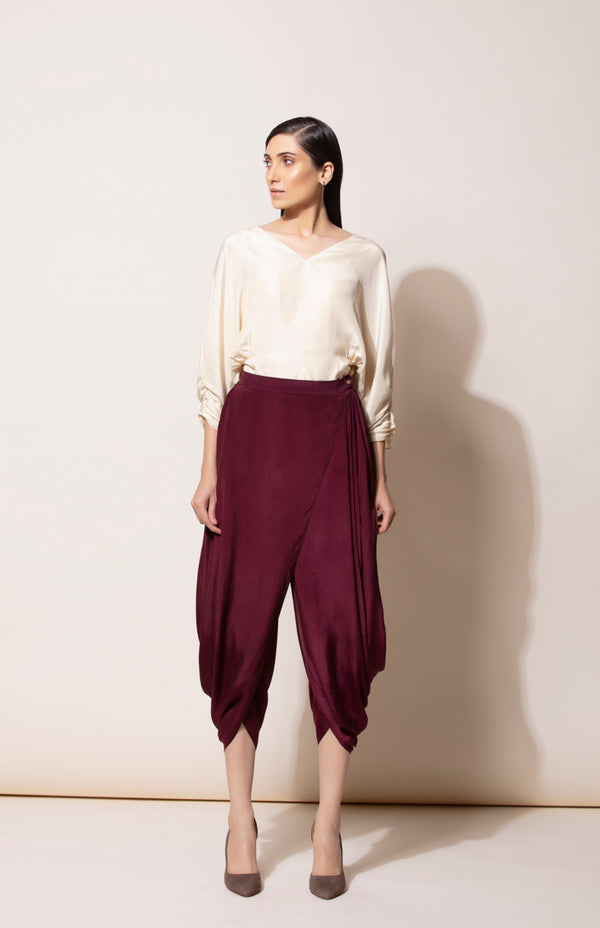 Burgundy Draped Dhoti