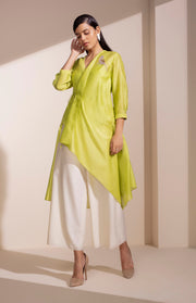 Neon Lime Bird Embroidered Shirt With Inner