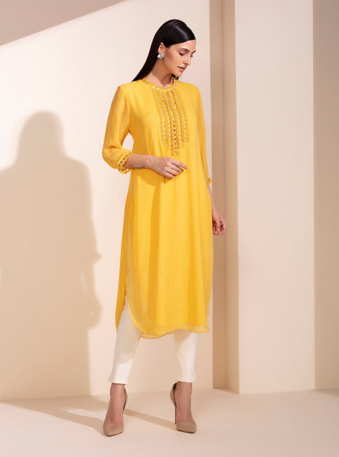 Mustard Embroidered Tunic