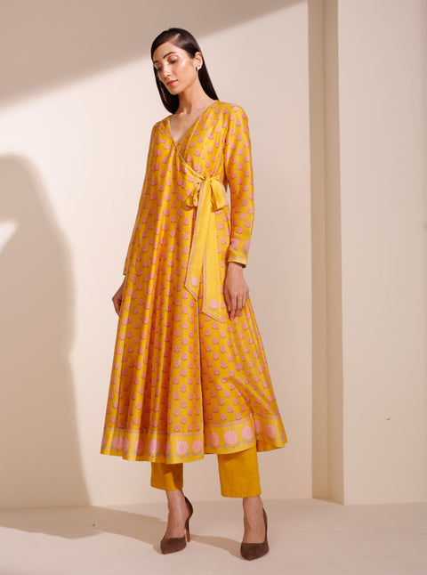 Mustard Anarkali With Inner & Pant
