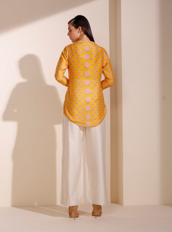 Mustard Printed Shirt With Inner