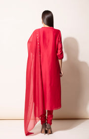 Red Kurta With Pants & Dupatta