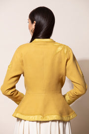 Dirty Mustard Wool Floral Short Jacket
