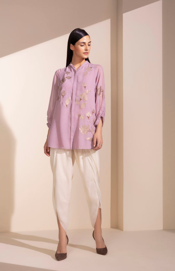 Dusty Lilac Seq Embroidered Shirt