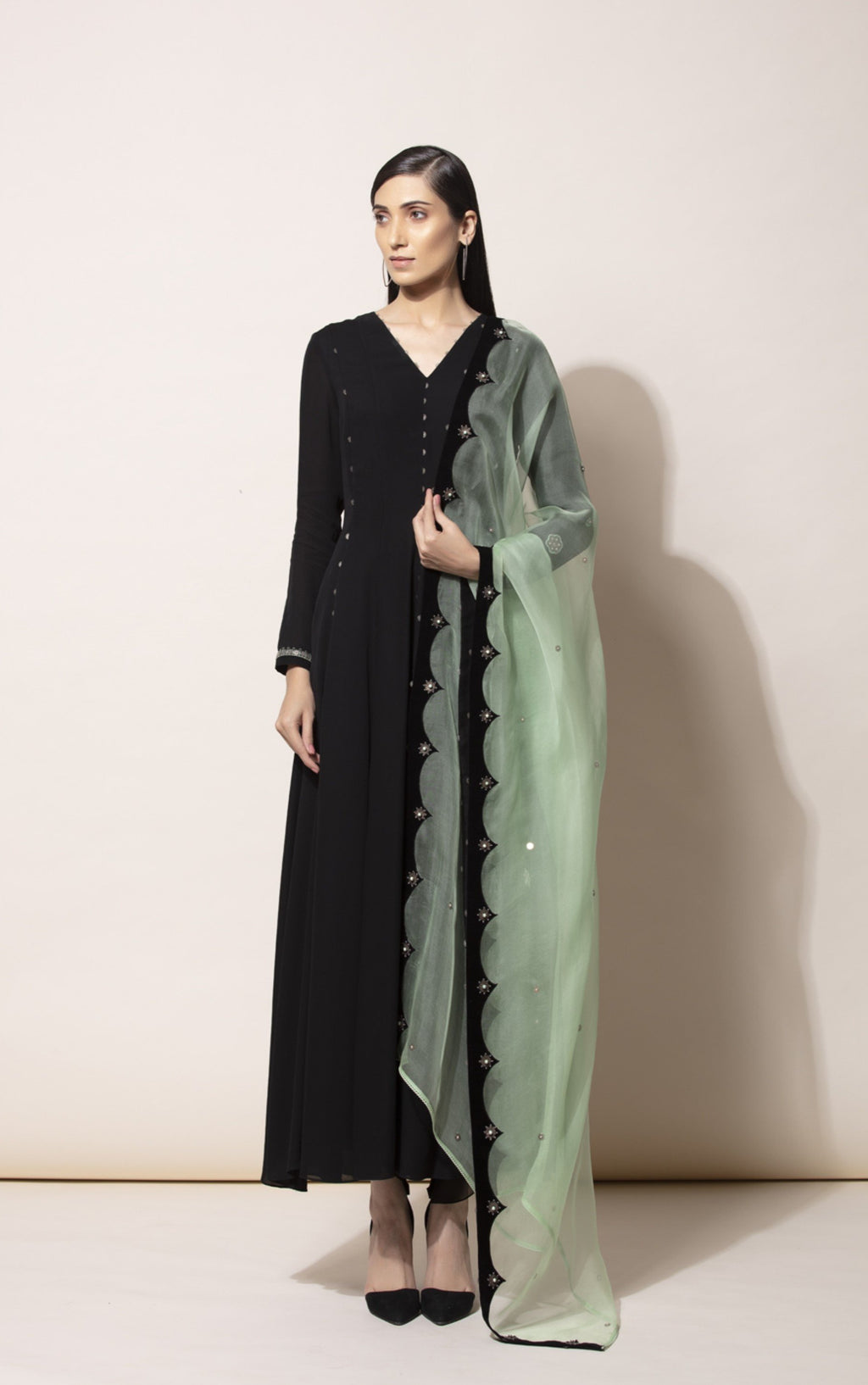 Black Anarkali With Dhoti & Dupatta