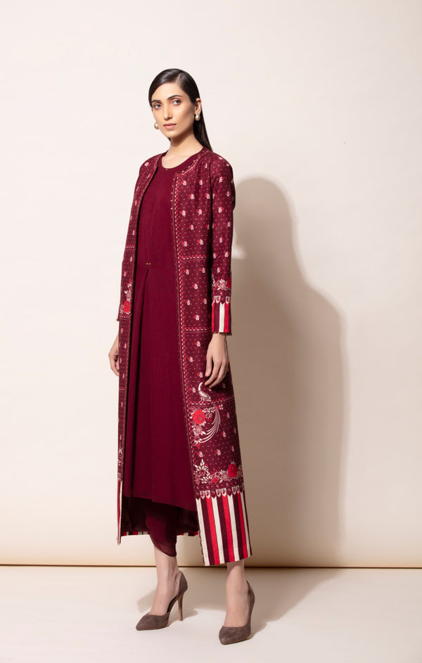 Burgundy Jacket With Inner & Dhoti