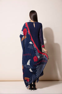 Navy Anarkali With Churidar & Dupatta