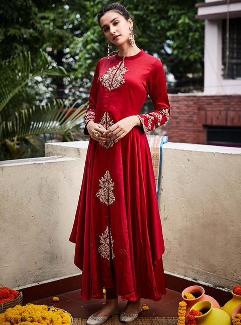 Pink City-Red Dress With Intricate Embroidery-INDIASPOPUP.COM