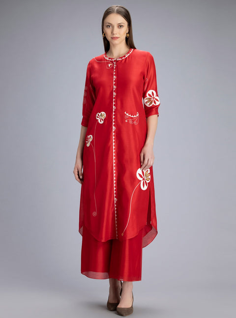 Am:Pm-Lewa Red Tunic In Chanderi-INDIASPOPUP.COM