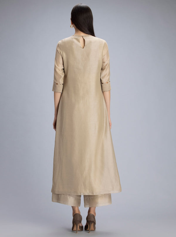 Am:Pm-Tazara Beige Suit Set-INDIASPOPUP.COM